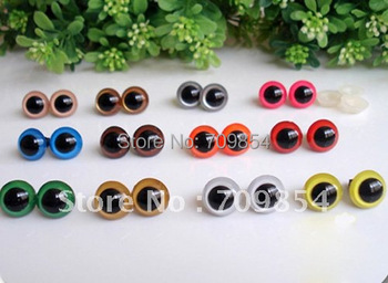 free shipping!!! 100pcs/lot 5/6/8/9/10/12/13mm wholesale mixed size /mixed color safety eyes with washer toy accessories