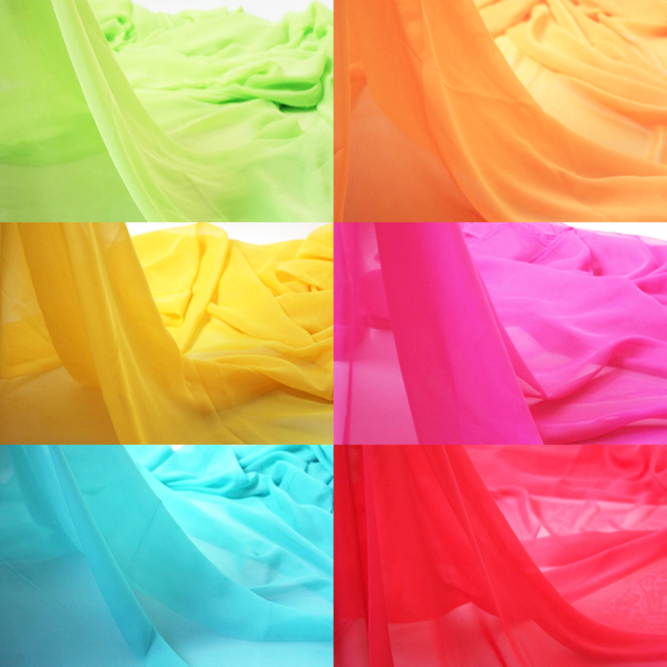 On Sale! 100% Polyester Chiffon Fabric 18 Colors 3 Meters 1.5m Wide For Silk Dress Skirt Needlework Curtain Silky Soft Fabrics