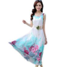 Printing Sleeveless Chiffon Summer Dress Women's Fashion Slim Thin Holiday Long Beach Dress Print Maxi DressC63