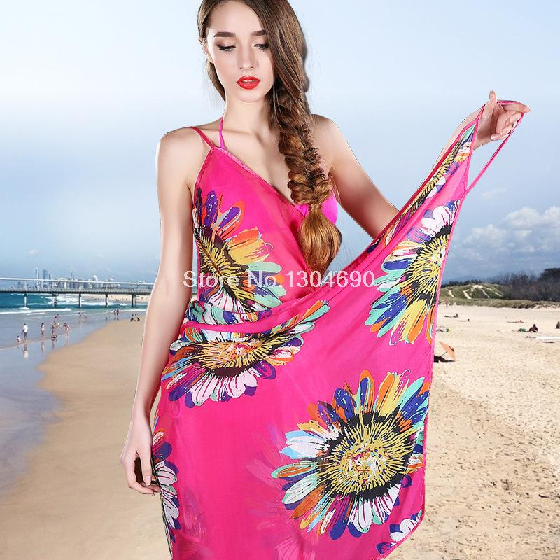 2015 New Women Beach towels Ladies Sexy women scarf Super chiffon beach towels in the spring and autumn long shawl sun flower(China (Mainland))