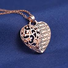 2016 Women Classical Love Jewelry Heart Hollow Pendant with Letter Engraved Rose Gold Chain Necklace Romantic Heart Pendant(China (Mainland))