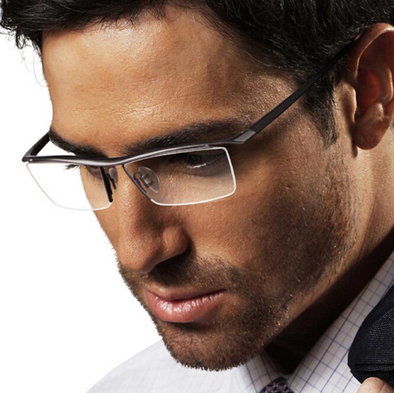 Mens Rimless Eyeglasses : Agstum Womens Mens Pure Titanium Half Rimless Business ...