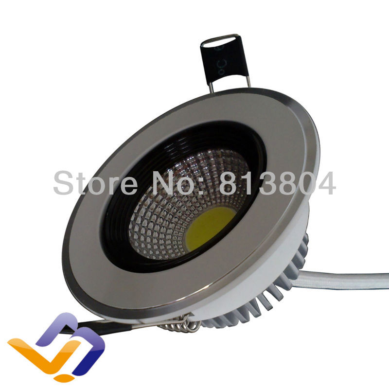 Wholesale Downlight led 5W COB Down light lamp 440LM AC85~265V CE RoHS warranty 3 years cob light White Cover reflection cup(China (Mainland))