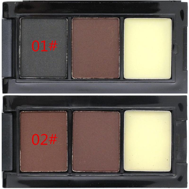 Hot Sale Professional Eye Shadow Eye Brow Makeup 2 Color Eyebrow Powder + Eyebrow Wax Palette + Brush + English Instruction