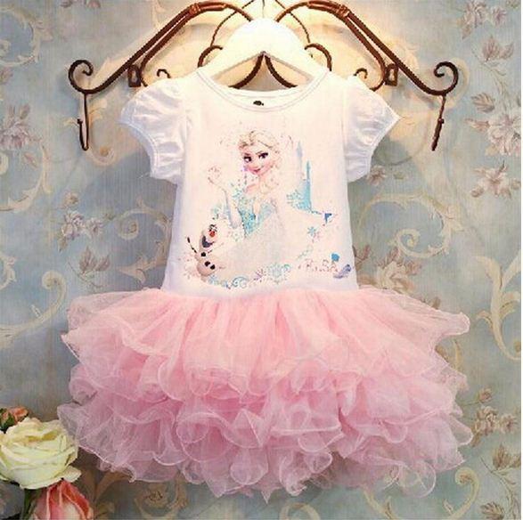 Летом стиль новорожденных девочек платье для ну вечеринку эльза анна платья принцесс туту детской одежды снежная королева мода костюм 2 - 8 лет