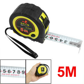 Yellow Black Shell Manual Lock Steel Measuring Tape Bandtape 5M x 1<br><br>Aliexpress