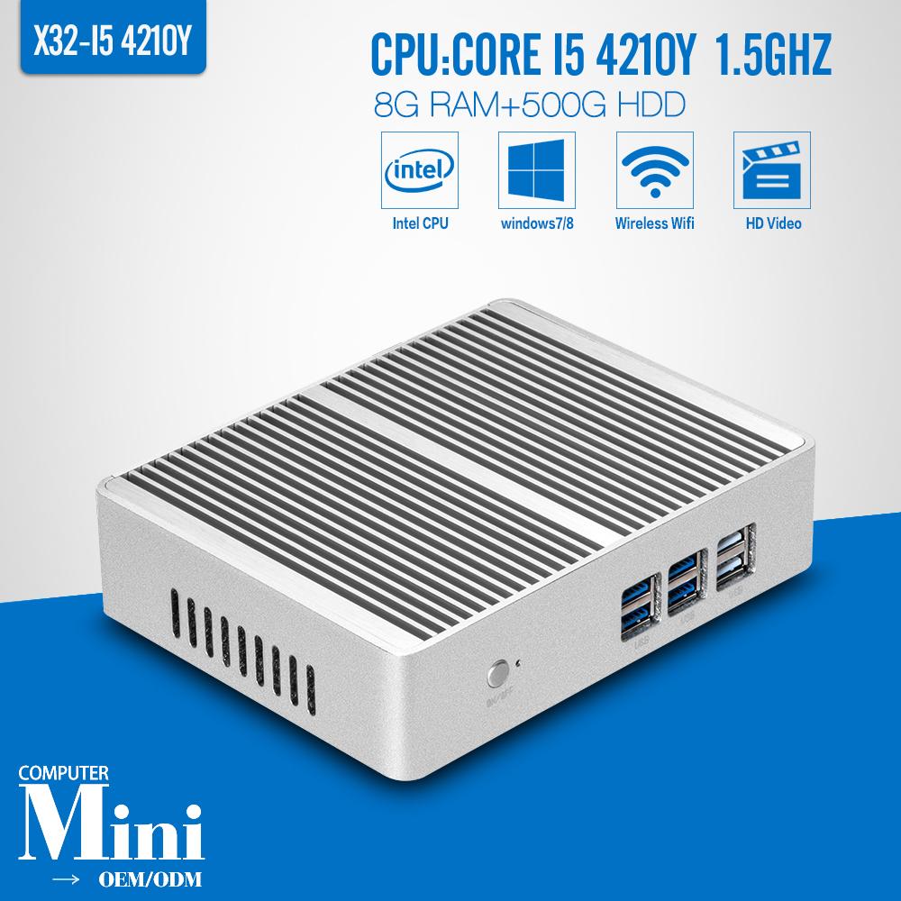 Computer Mini PC Core I5 4210Y 1*HDMI 1*VGA 1*RJ-45 8G RAM 500G HDD with wifi Mini PC Thin Client Laptop Computer<br><br>Aliexpress
