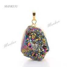 Mankuu 不規則な天然石ペンダント振り子ゴールドメッキクリスタル Druzy ペン(China)