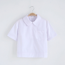 Buy Cute Girls Japanese School Uniform Girls JK White Blouse Chest Pocket Side Zipper Peter Pan Collar Short Sleeve Shirt Tops for $18.99 in AliExpress store