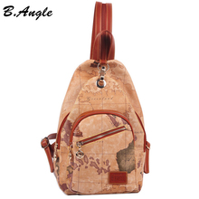 2016 fashion vintage high quality world map backpack women backpack leather backpack printing backpack(China (Mainland))