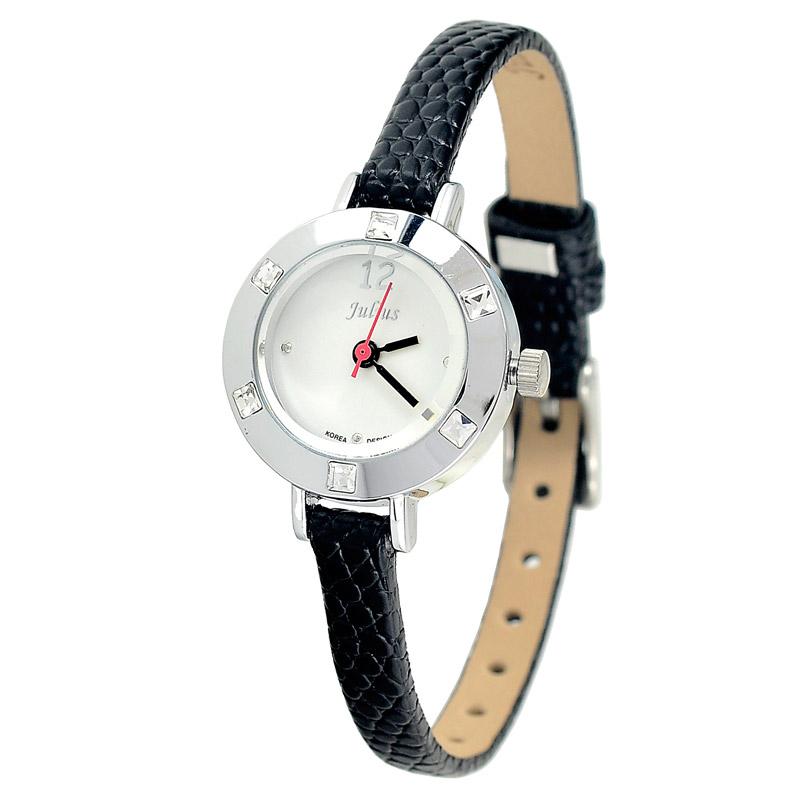 Julius simple fashion round women quartz watch mini belt vintage rhinestone waterproof casual generous ladies dress 677 - Stanphom Watch Co., Ltd. store