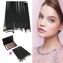 15 Colors Makeup Concealer Palette 20pcs Eye Brushes Tools Sponge Puff Hot Selling Top Quality(China (Mainland))