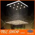 Best Price Length 80cmxW80xH100 Modern K9 Square Crystal Chandelier Lamp Hanging Wire Pyramid Crystal Lamp Project