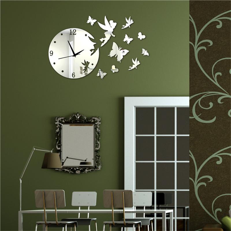 Butterfly Mirror Wall Clock Modern Design Decorative Mirrors Acrylic