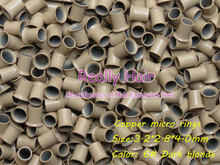3.2*2.8*4.0mm 6#Dark blonde 1000pcs copper flared ring easily locks/copper tube micro link/ring /bead for i tip hair extension