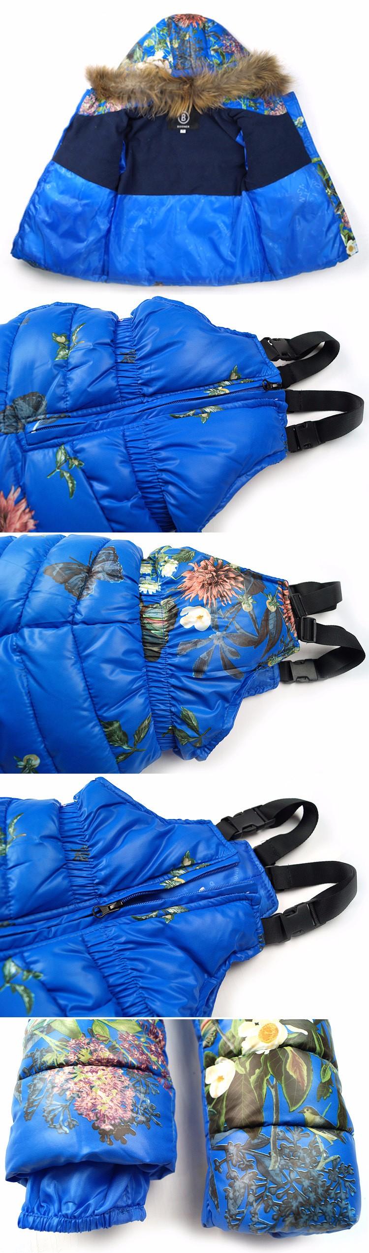 Скидки на Новый 2017 мальчики девочки теплое пальто одежда набор Природных белая утка вниз детей пиджак + биб детские snowsuit для 18 м-6 лет дети
