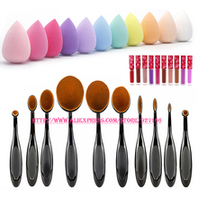10 Pcs Makeup Brushes (10 Different Sizes) & 1 Pcs Teardrop-shaped Sponge Cosmetic Puff & 1 Pcs Lip Gross (Color Send at Random)(China (Mainland))