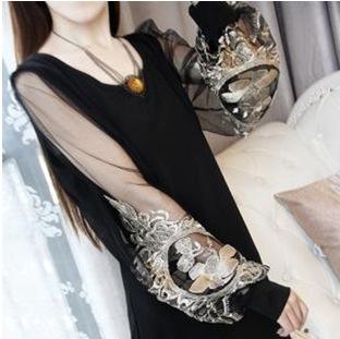 Fashion 2015 Summer Style Clothing Mesh Embroidery Lantern Sleeve Casual Women Dress Brand New High Quality Plus Size Vestidos(China (Mainland))