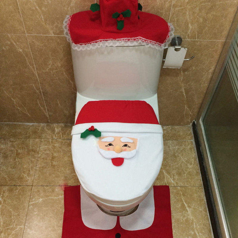 Buy 3 Pcs Set Fancy Santa Claus Toilet Seat Cover And Rug Ba