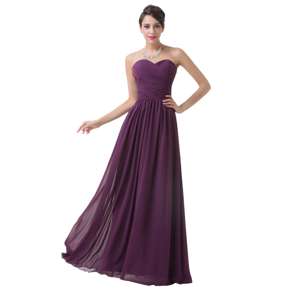 New Design Special Occasion Formal Party Gowns Floor Length Chiffon Long Bandage Prom dress Purple Bridesmaid