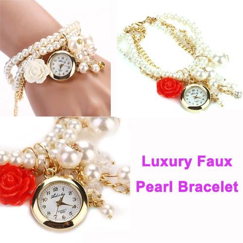 Charming Fashion Women Bracelet Watch Rose Flower Design Faux Pearl Rhinestone Steel Quartz bracelet Watches Wristwatches  -  Bravo!! store