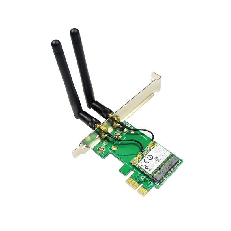 Best Service New Arrival MiniPCI-E 802.11N WIFI + Bluetooth to PCIe Wlan Wireless Card Desktop PC Network Adapter(China (Mainland))