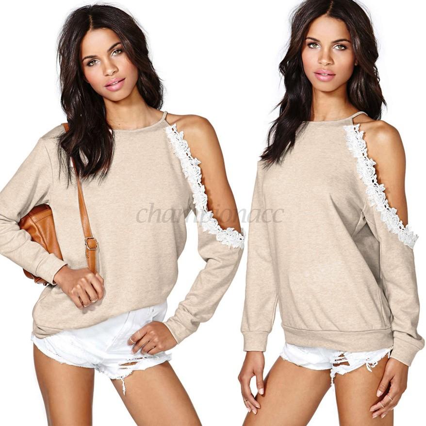 2014 Loose Sweatshirt Hollow Shoulder Sport Suit Women Casual Pullover lace tops hoodies Long Sleeve 34  -  Championacc 2013 store
