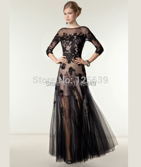 RomanticroRomanticUnique Design Two Piece Evening Gowns Sheer Bateau Neck Lace Appliques Black Sequins Tulle A-line Long Prom Dr(China (Mainland))