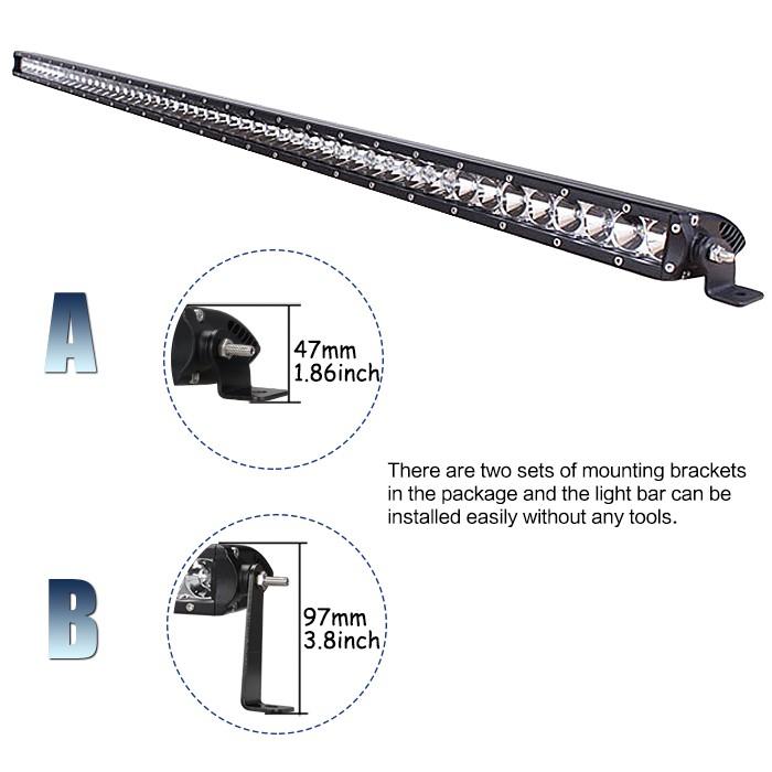 RACBOX 51 inch Off Road 250W Single Row LED Work Light Bar
