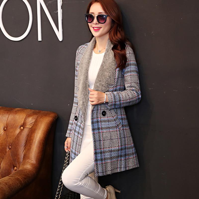 Hot 2015 winter women Woolen coats fur cap lady woolen cloak outerwear collar medium-long blended wool coat