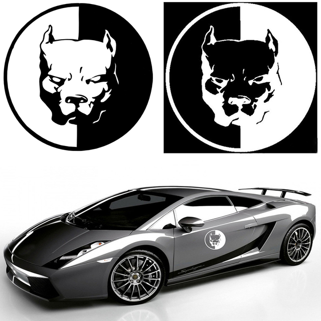 1PCS PITBULL Car Stickers 12*12CM Black White Motorcycle Car Styling Decals 3D Dog Funny Car Stickers For BMW VW Audi Stickers