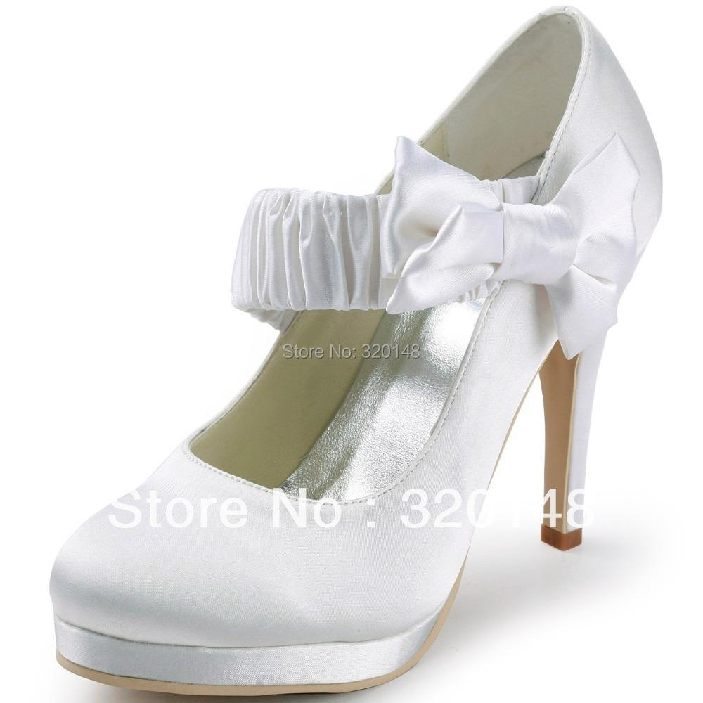 Free Shipping 2014 Elegant EP11119-PF Women White Almond Toe Bow Platform Pumps Stiletto High Heel Satin Wedding Shoes