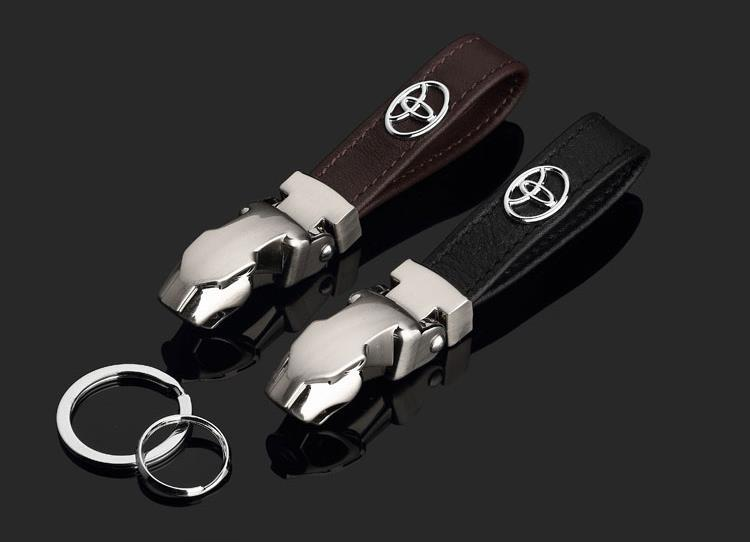 2015 Alloy & Leather car Key ring for Toyota New leopard head style car Key chain with Car Logo Fits For Toyota with gift box(China (Mainland))