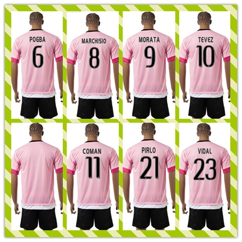 New Product Uniforms Kit POGBA MORATA TEVEZ White Black Strip 2015-2016 MARCHISIO Soccer Jersey Home AWAY Pink Full Shirt(China (Mainland))