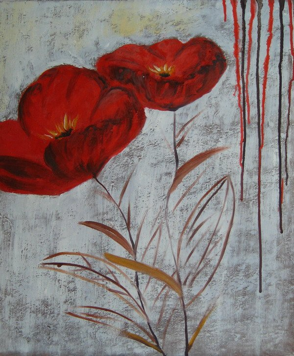 Cheap still life red flower Decorative art paintings from china -- Fine Art Prints Canvas for Wall(China (Mainland))