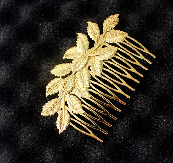 Newly Bridal Flower Leaf Long Hair Piece Comb Clip Gold plated Head Piece Hair jewelry(China (Mainland))