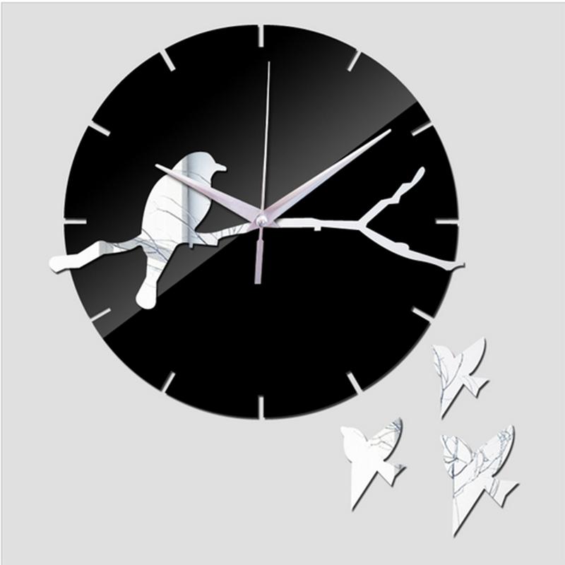 2015 New Hot Sale Real 3d Mirror Wall Clock Modern Design