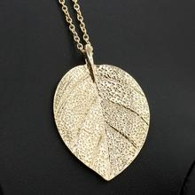 Womens Charm Golden Leaf Pendant Necklace Long Sweater Chain Jewelry - Weidong's Shop (No min. order store)