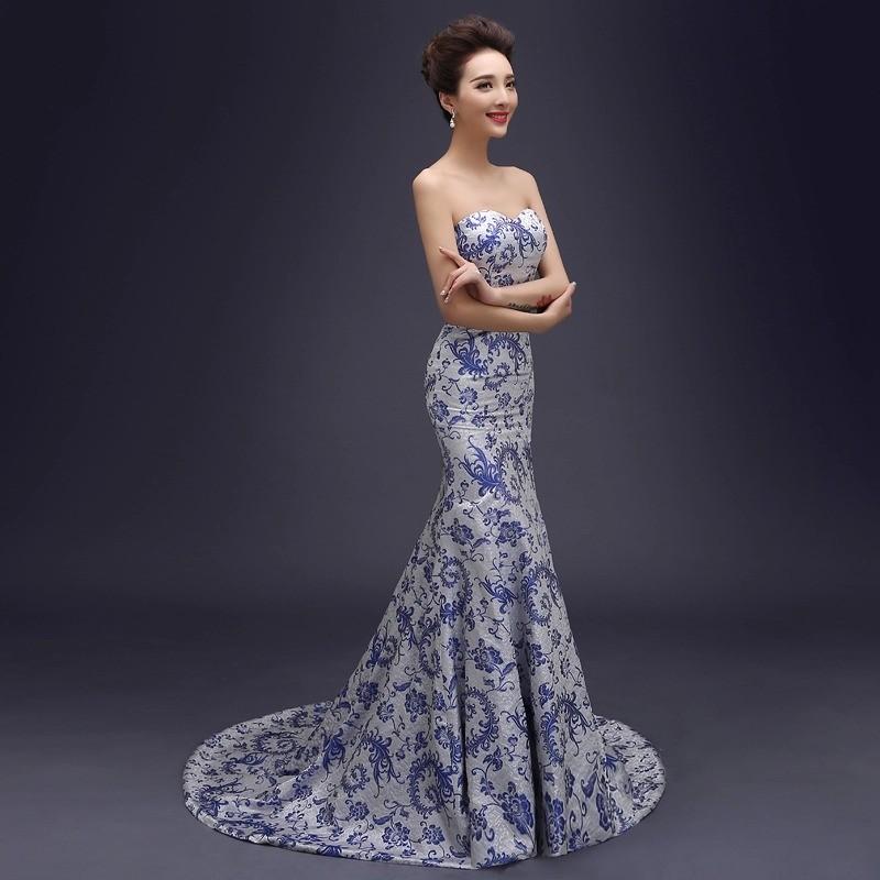 Tube top trailing royal blue strapless fishtail cheongsam for Chinese website for wedding dresses