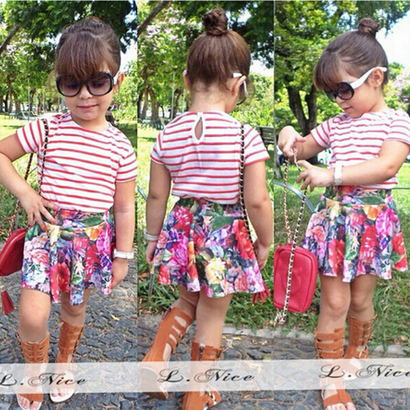 Summer Style Girl Clothes Set 2 Pcs Red White Striped T-shirt+Flower Printed Skirt Kids Babe Clothing Set 1-6 Years Skirt Suit(China (Mainland))