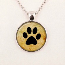 Wholesale Glass Picture Pendant Dog Lovers necklace My Friend Paw Prints Pendant Glass Dome Necklace