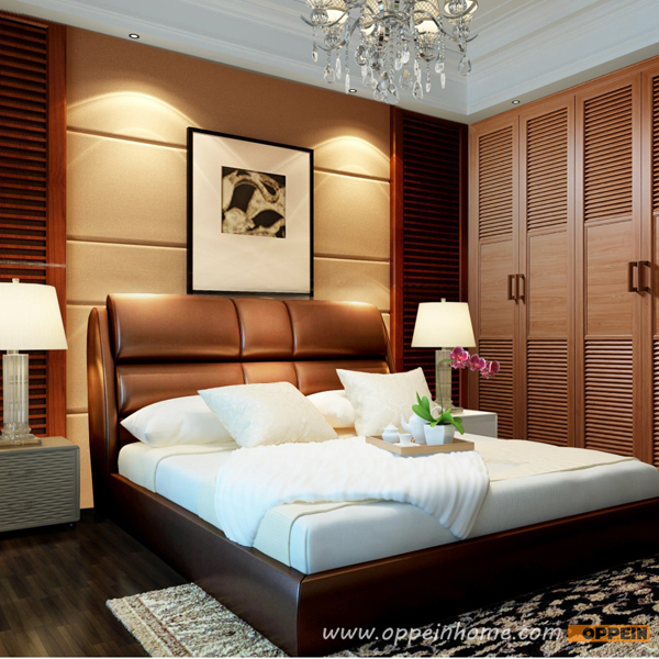 OPPEIN Hot Sell Cherry Wood Bed / soft bed/double bed king/queen size bedroom home furniture hot sale style OP-SH686(China (Mainland))