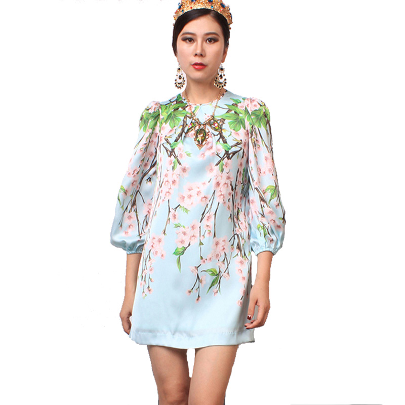 Casual Dress 2015 Newest Name Brand Romantic Lantern Sleeves Mini Length Peach Flower Printed Summer Loose Dress For Ladies(China (Mainland))