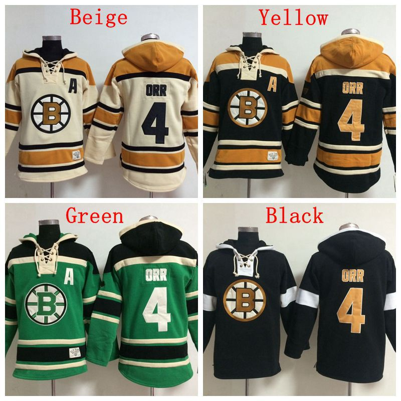 Hot Hot Sale Mens Boston Bruins Hoodie Jerseys #4 Bobby Orr Ice Hockey Hoodie,Accept Mixed Orders,Name And Number Stitched
