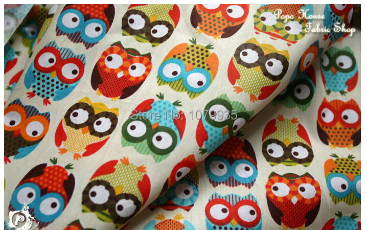 Free shipping 160 100cm cute colorful owl printed cotton for Upholstery fabric for baby nursery