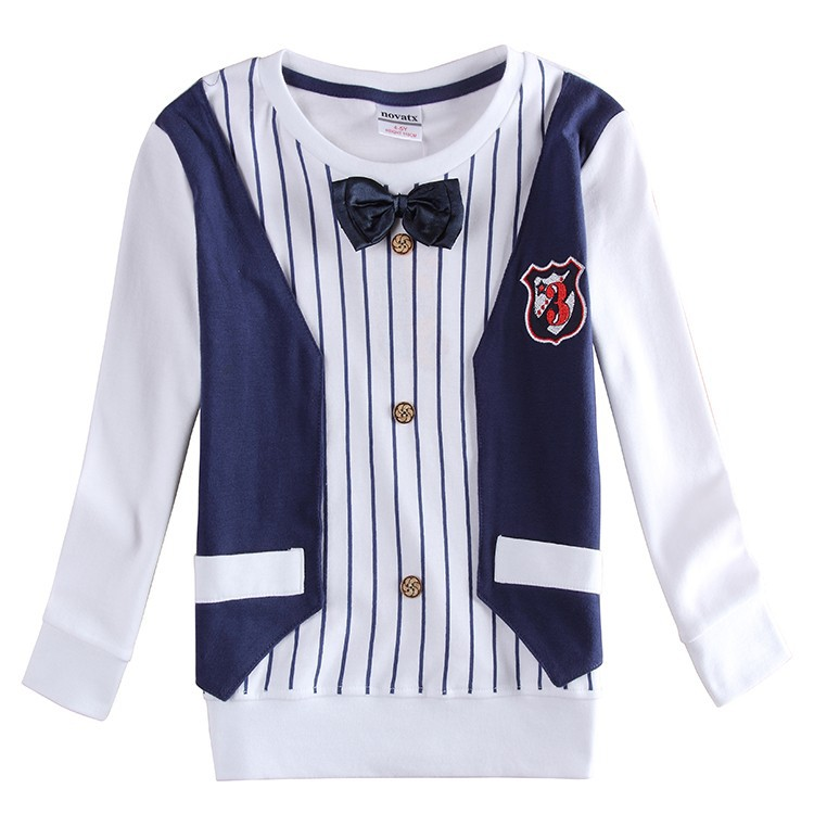 Boy party t shirt+jacket suit children long sleeve 100% cotton autumn clothing evening suits for boys nova suit for boys A6413(China (Mainland))