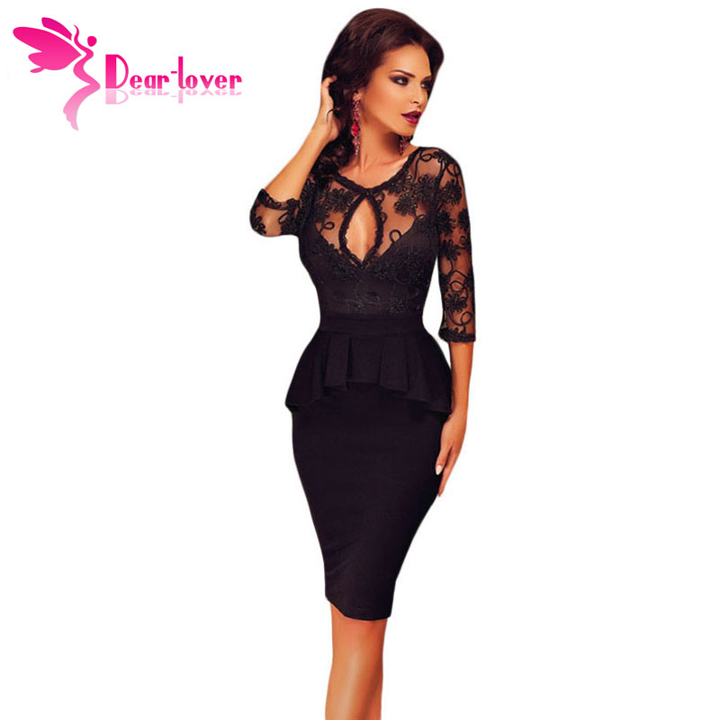 Dear Lover Three Quarters Sleeve Embroidery Black Peplum Midi Dress Sexy Ladies embroidered top with the ruffles dresses LC60609Одежда и ак�е��уары<br><br><br>Aliexpress