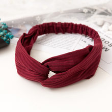 Women Headband Vintage Cross Knot Elastic Hair Bands Soft Solid Girls Hairband Hair Accessories(China)