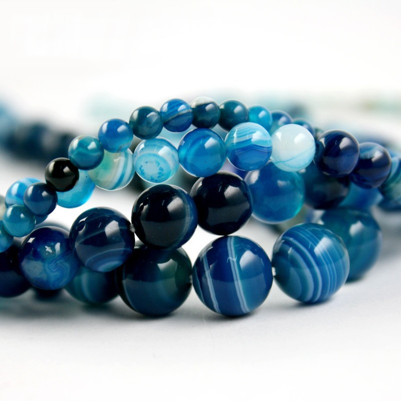 High quantity AAA+ blue stripe Onyx agate Round Bead natural stone Beads 4mm 6mm 8mm 10mm A string(China (Mainland))