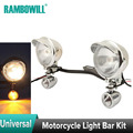 A Set Universal Chrome Motorcycle Light Bar Kit Passing Light Turn Signal White Amber Bullet Stalk